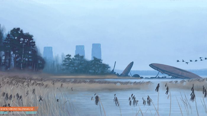 Retro futurism illustration by Simon Stålenhag