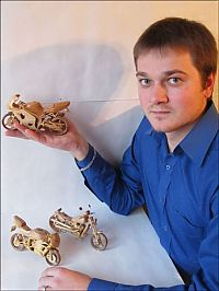 TopRq.com search results: Miniature wooden motorcycles by Vyacheslav Voronovich