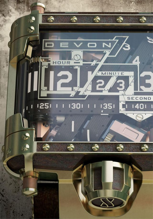 Devon Works Tread 1 Steampunk limited edition wristwatch by Devon Works LLC