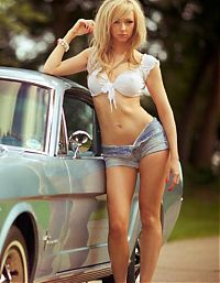Motorsport models: girl with a car