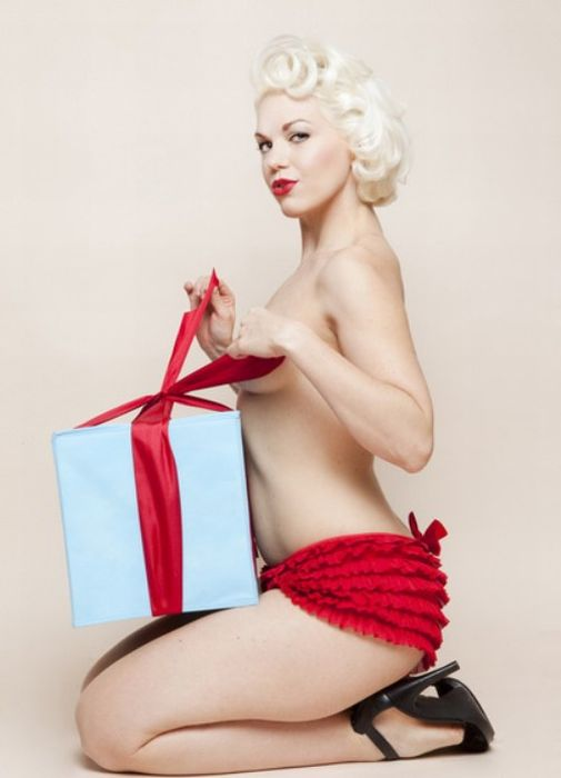 Topless pin up girl stock photos and images