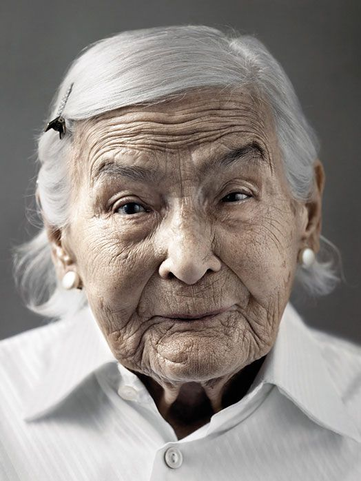 human face showing 100 years of ageing