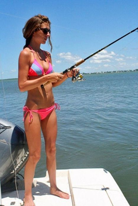 young fishing girl