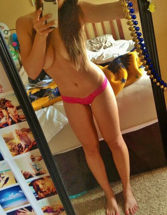 young teen college girl without brassiere