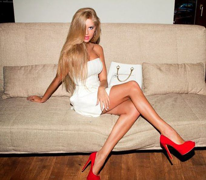glamour girl with beautiful long legs