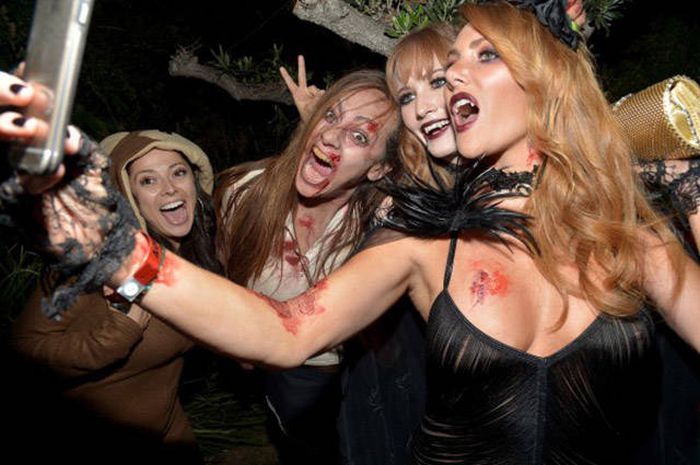 Playboy Mansion halloween party girls