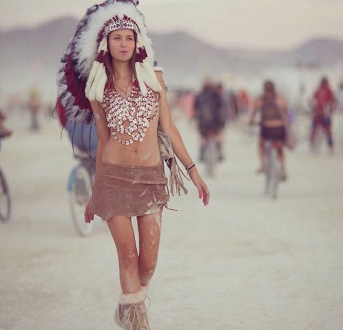 Burning man girls, Black Rock Desert, Nevada, United States