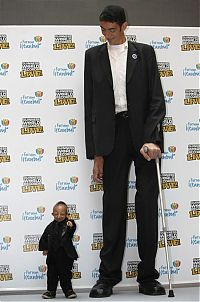 TopRq.com search results: Tallest man in the world met with the smallest, Sultan Kosen, 246.5cm, He Pingping, 73cm