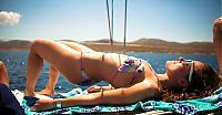 People & Humanity: summer bikini beach girls recreate on yacht vessels