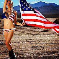 People & Humanity: girl with the american flag