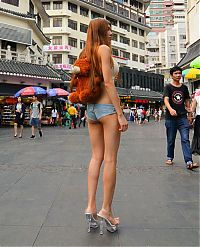 young girl in shorts