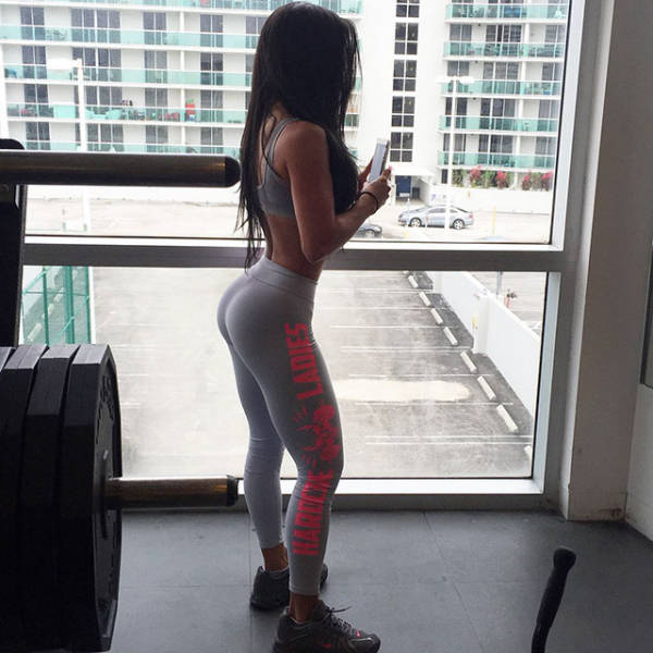 young sport girl in tight yoga pants