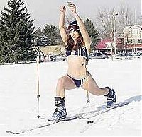 Sport and Fitness: young winter girl on snow