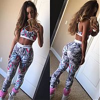 Sport and Fitness: young teen girl in tight yoga pants