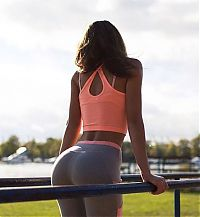 Sport and Fitness: young sport girl in tight yoga pants