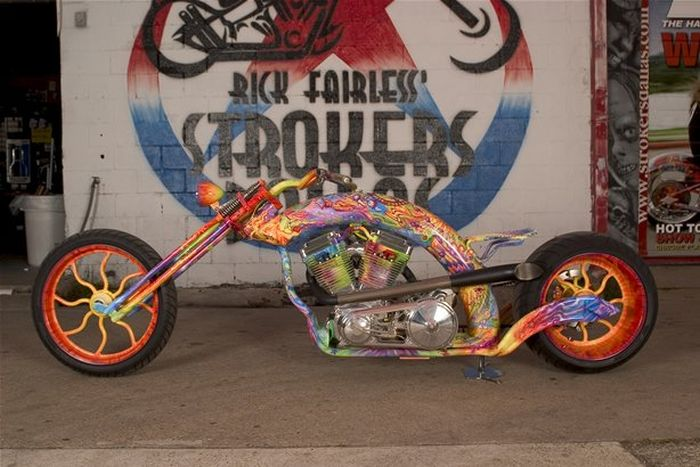 Custom chopper by Rick Fairless, Strokers Dallas