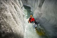 Riverboarding of Great Aletsch Glacier, Bernese Alps, Valais, Switzerland